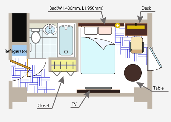 Room Single A layout